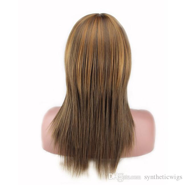 WoodFestival 50cm harajuku gradient wig fluffy fiber hair wigs long straight wig with bangs heat resistant synthetic wigs women wigs cosplay