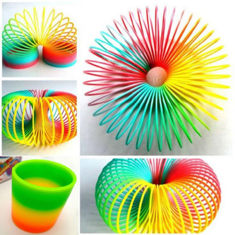Lovely Colorful Rainbow Plastic Magic Slinky Children Classic Development Toy CN #E791