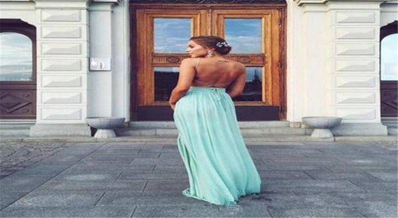 Sexy Backless Menta Verde Dama de Honra Vestidos Longos Cintas De Espaguete Criss Cruz Ruched Custom Made Vestido de Festa de Casamento Vestidos de Dama de Honra