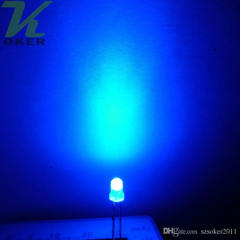 3mm azul difundido led luz lâmpada emitindo diodo nevoento ultra brilhante plug-in DIY kit prática de grande angular