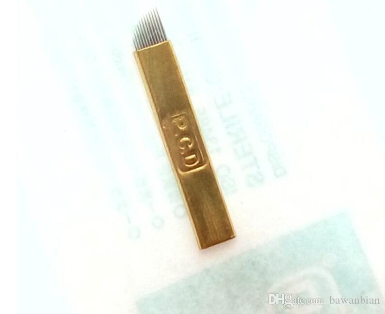 Manuel Maquillage permanent Sourcils tatouage Biseau Lames 12 aiguilles pour Microblding Pen / de