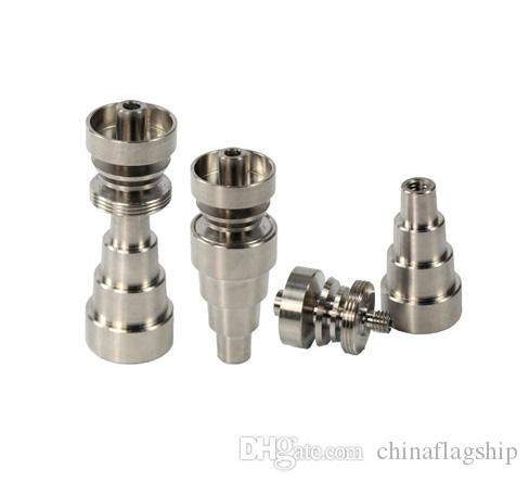 The latest Blue green gold orange red 6 in 1 Domeless GR2 Titanium Nail Fit 10&14&18mm for glass water bongs
