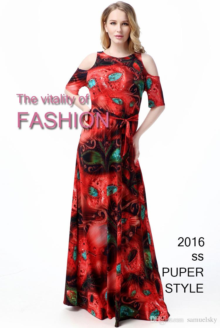 588e8d5962ccc 2016 New Style Summer Fashionable Women's Red Dresses Flowers Print ...