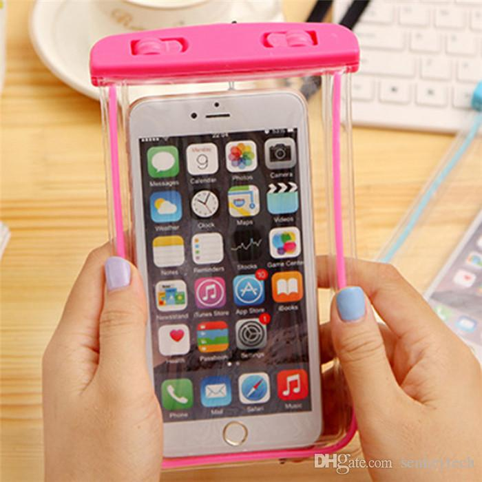 Clear Waterproof Pouch Dry Case Cover For Camera Mobile phone Luminous Waterproof Bags for IPHONE 4 4S 5 5S 6 6S PLUS
