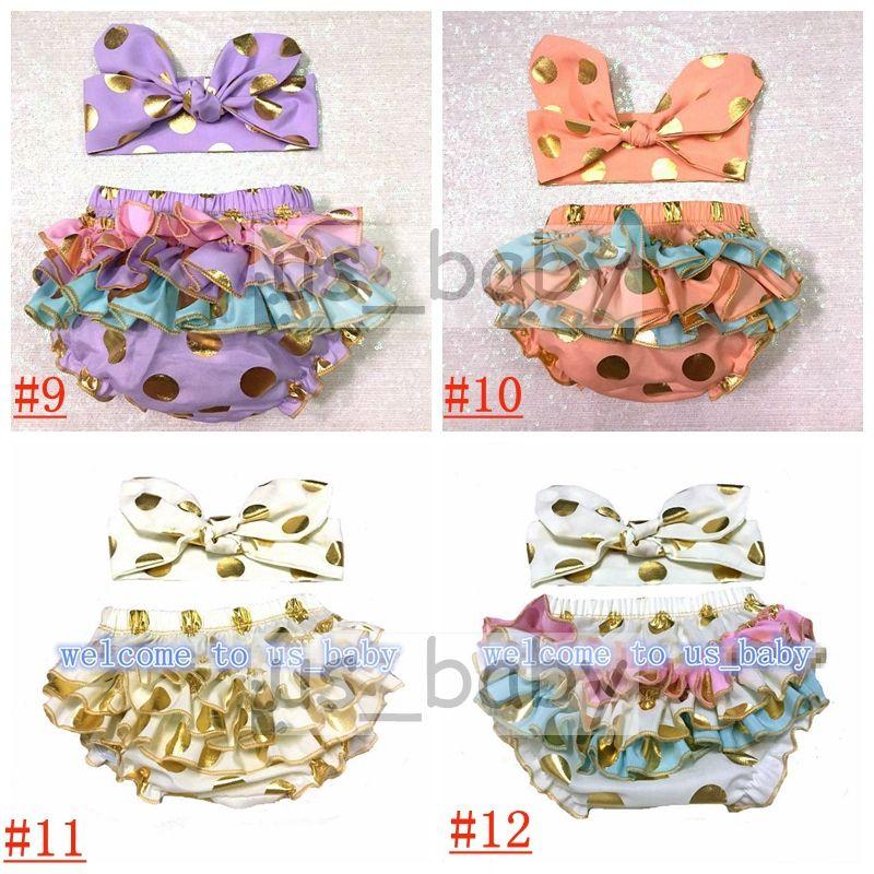 2016 girls gold polka dot shorts baby bloomers + headbands set childrens ruffled shorts kids cotton underwear girls boutique short pants