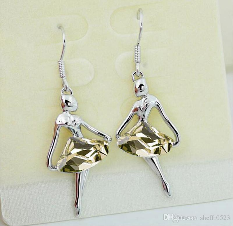 Fashion Girl Statement Necklaces Jewelry Sets Crystal Dancing girl Necklace Earrings Alloy Jewelry Sets A06-B47