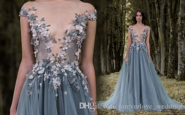 Paolo Sebastian Prom Dresses Formal Long Lace Applique Flowers Beads Sheer Illusion Bodice Cap Sleeves Tulle Party Evening Gown Wear Wemen