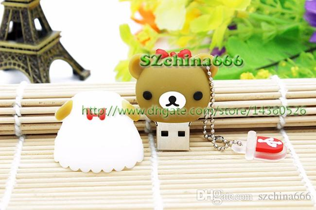 Lovely Lover Bear USB Flash Drive Cute Cartoon Marriage Bears Pendrives 8GB 16GB 100% Real Capacity Memory Stick 4GB 2GB 1GB Gift