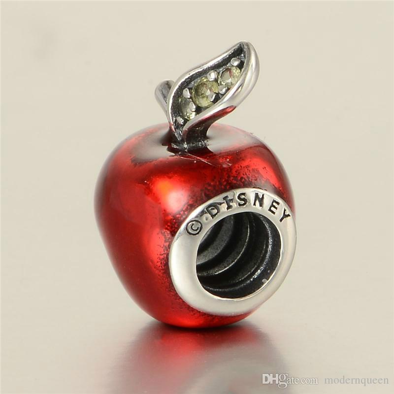 Apple Pandora Stil Charms Red Apple Charme S925 Sterling Silber passt Pandora Style Armbänder Kostenloser Versand Lw566