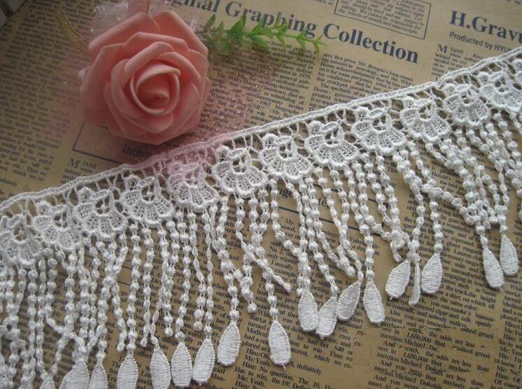 15 Yard White/Black Flower Tassel Cotton Lace Fabric Trim Ribbon For Apparel Sewing DIY Bridal wedding Doll Cap Hair clip