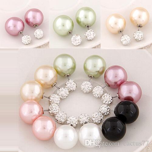Women Double Sided Pearl Earrings in Jewelry Crystal Ball Earring Female NEW Brand CC Jewellery