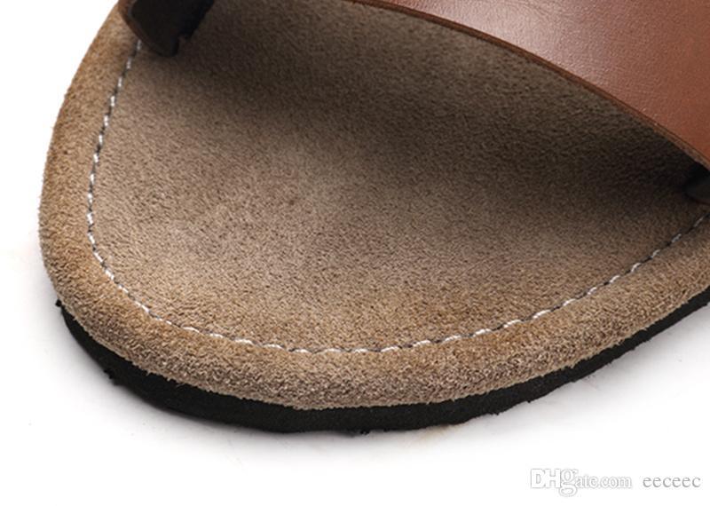 US6-10 العصرية مشبك حزام جلد حقيقي عارضة الصيف شاطئ الصنادل رجالي الشرائح في الهواء الطلق أحذية أعلى سيور
