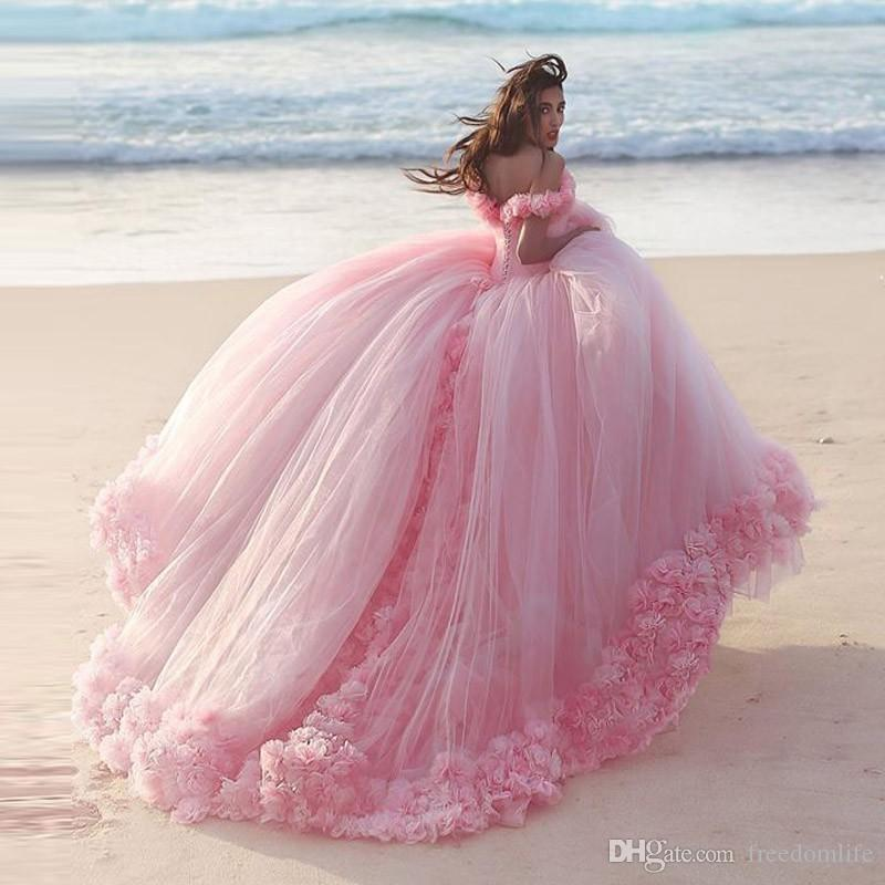Romantic pink wedding dresses princess ball gowns 3d floral romantic pink wedding dresses princess ball gowns 3d floral appliques big puffy modest bridal gown short sleeve plus size bride dress cheap bride dresses junglespirit