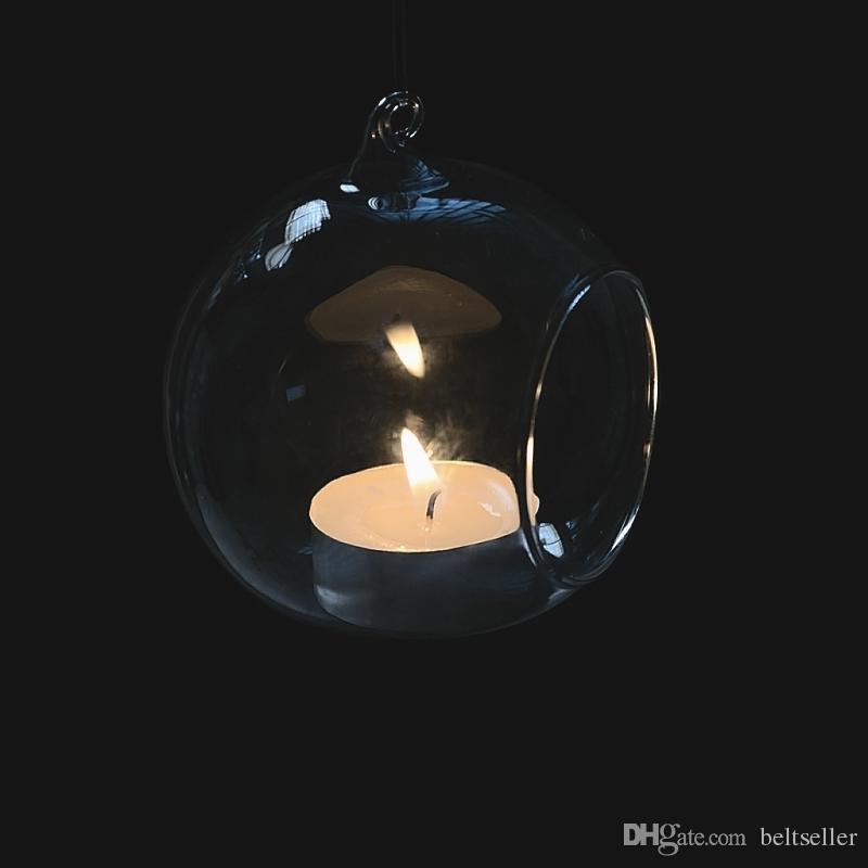 8cm en verre transparent Hanging Vase de fleurs Plante Bougie Photophore mariage Candlestick d'air à suspendre l'usine Terrarium pour la décoration intérieure