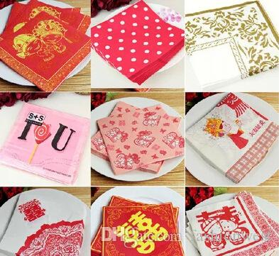 Napkin Wedding Supplies Disposable Festive Tissue Wedding Paper Color Square Paper Towels High Quality Exquisite Cozy Soft Paper