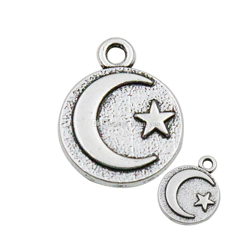 Jewelry Pendant Vintage Alloy Moon Star Raised Double Sided Finding Charms 15*19mm AAC104