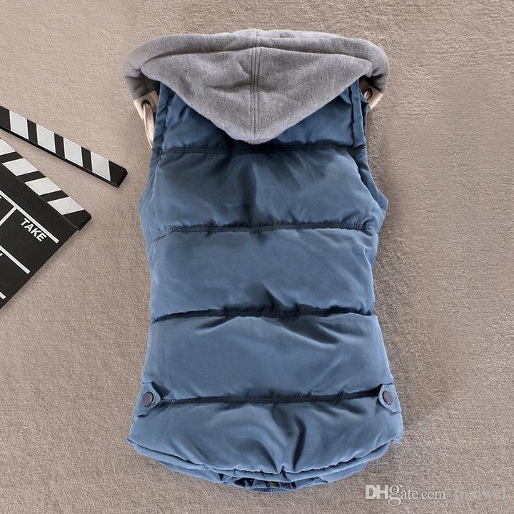 Женщины зимний жилет жилет жилет с капюшоном теплый пиджак без рукавов вниз хлопчатобумажный вагон для белья пальто толстые пальто толстовки сплошные цвета