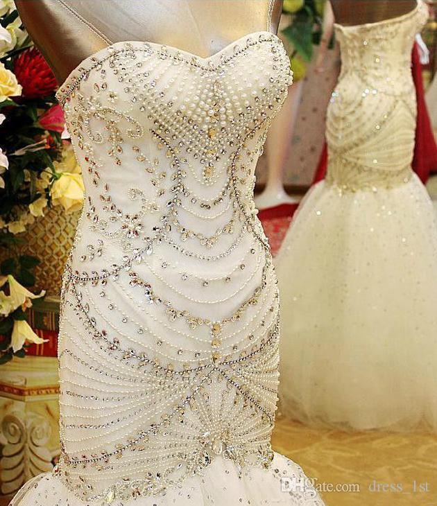 Luxo 2016 Mais Novo Querida Vestidos De Noiva Sereia Cristal Brilhante Frisado Pérolas Até O Comprimento Vestidos De Noiva Custom Made China EN3293
