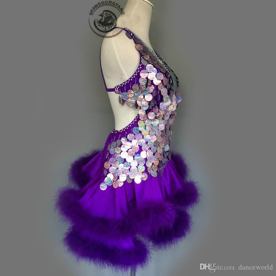 Costume Adulto / Criança Traje de Dança Latina Sexy Roxo Lantejoulas Pena Dança Latina Competição Vestido Para As Mulheres Criança Dança Latina Vestidos S-4XL