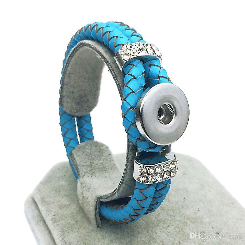 Hot strass gros Hot Original En Cuir Véritable 18mm Snap Bouton Bracelet Interchangeable Charme Bijoux Pour Femmes Hommes longueur 20 cm