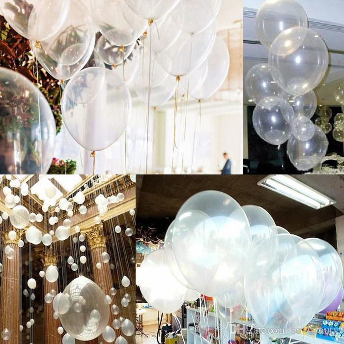 1 saco Limpar Balões de Látex Pérola Transparente Rodada Balão Festa de Aniversário de Casamento Aniversário Decoração 12 polegada 1 saco = novo