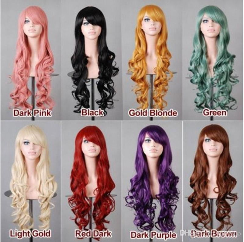 Multicolor Cheap Women Synthetic Hair Wig Fashion Anime Heat Resistant Hair 80cm Long Wavy Cosplay Wigs for Halloween Party Nightchlub
