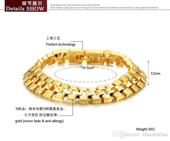 ZHF JEWELRY Box Packing! Brand Design 18K gold plated Chunky bracelets 12mm X 18.5cm luxury Wedding Jewelry 742