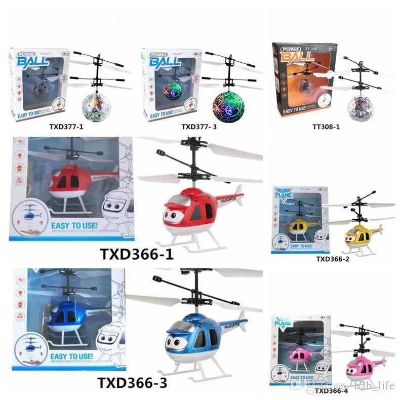 7 Estilos Air RC Flying Ball Drone Helicopter Ball Incorporado Shinning Iluminación LED para niños Adolescentes Colorful Flying Helicopter CCA7298 20pcs