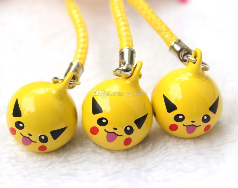 New Cute Anime Yellow Pikachu Pendant Cell Phone Charm Straps with Bell Cartoon For Gift