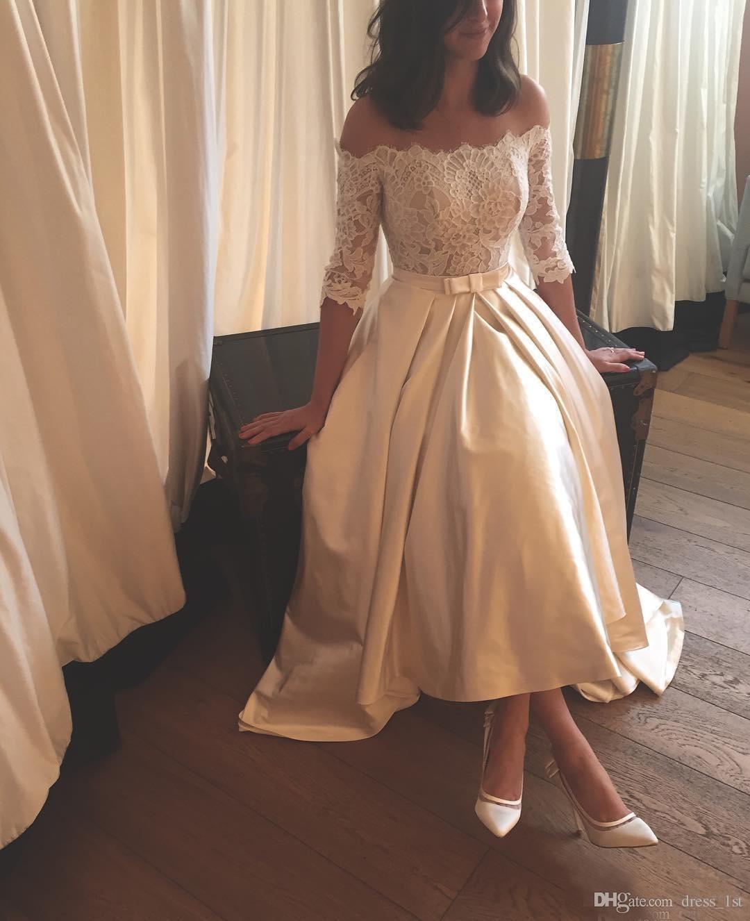 Graceful 2017 Off Shoulder Lace Half Sleeve High Low Wedding Dresses Cheap Saudi Arabic Bow Sash Long Bridal Gowns Cusotm Made China EN9073