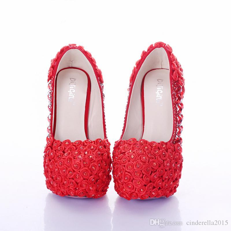 Kırmızı Süper Yüksek Topuk Gül Çiçek Gelin Elbise Ayakkabı Rhinestone Düğün Parti Balo Ayakkabı Bayan Platformu Topuklu