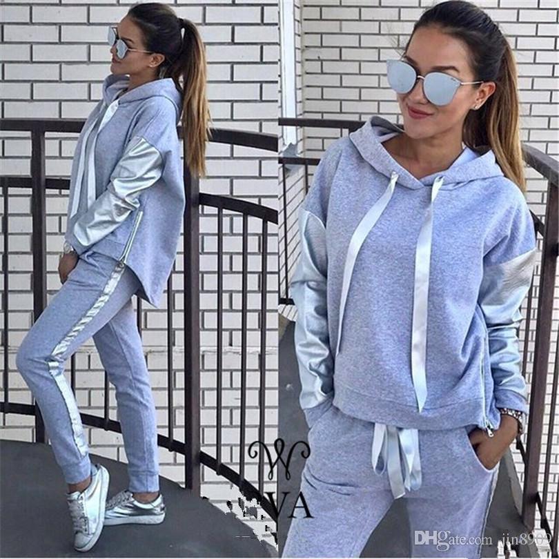 2017 Promozione Full Standard Nessuno con cappuccio in poliestere casual Solid Slim Europa e il Leisure New Lady Hoodie Suit