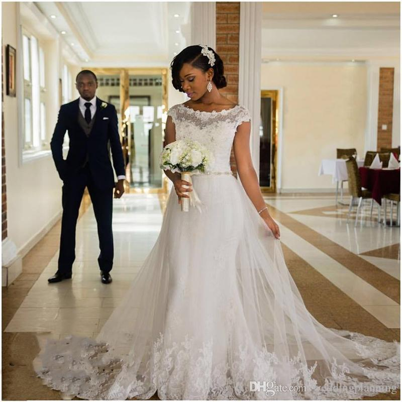 Simple Elegant Wedding Dress With Sleeves Woman And More: Discount Fluffy Hoppie Train Mermaid African Wedding Dress