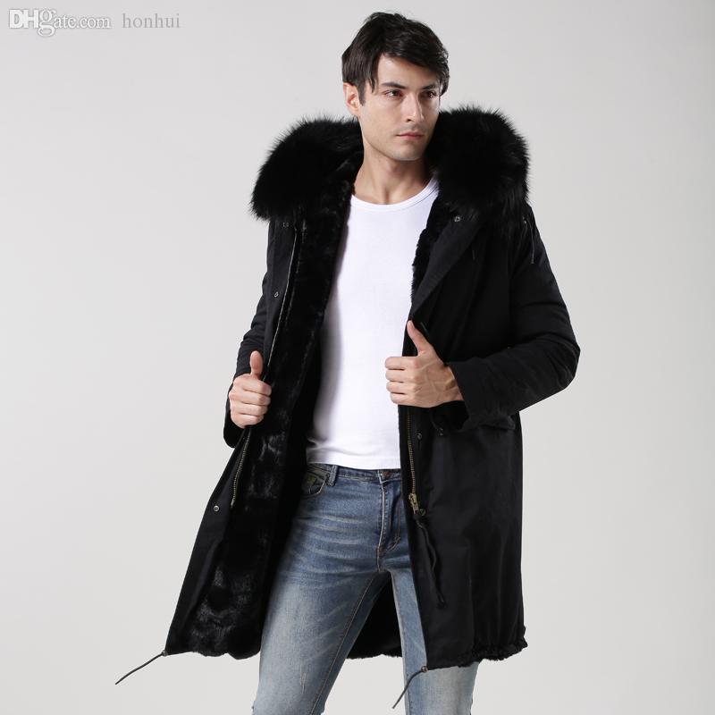 Fall 2016 Winter Black Men Fur Parka Real Raccoon Fur Parka With ...