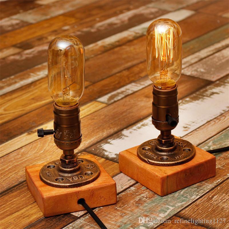 2018 Desk Lamp E27 Coffee Table Light Bar Lamparas Escritorio Luminaria De Mesa Loft Vintage Edison Bulb Water Pipe Led Dimming From