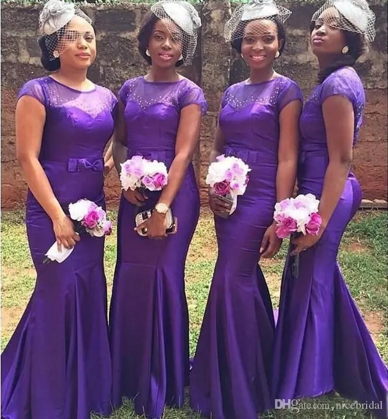 Purple Mermaid Bridesmaid Dresses For Wedding Guest Party Black ...
