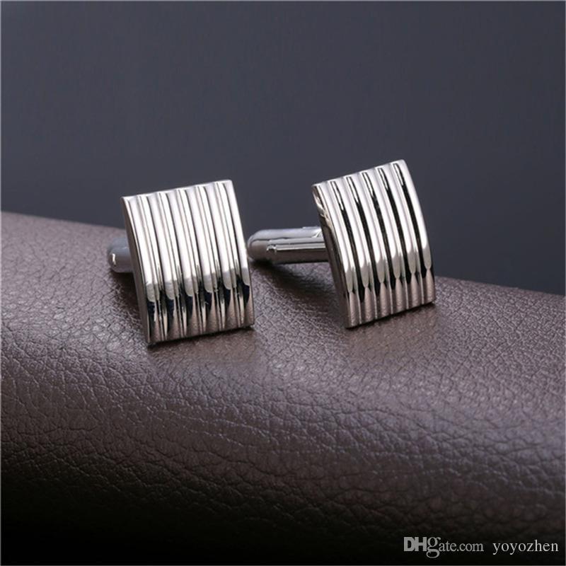 남성용 정장 셔츠 커프스 링크 고품질 플래티넘 / 18K 진짜 금 도금 금속 커프스 버튼 고급 커프스 단추