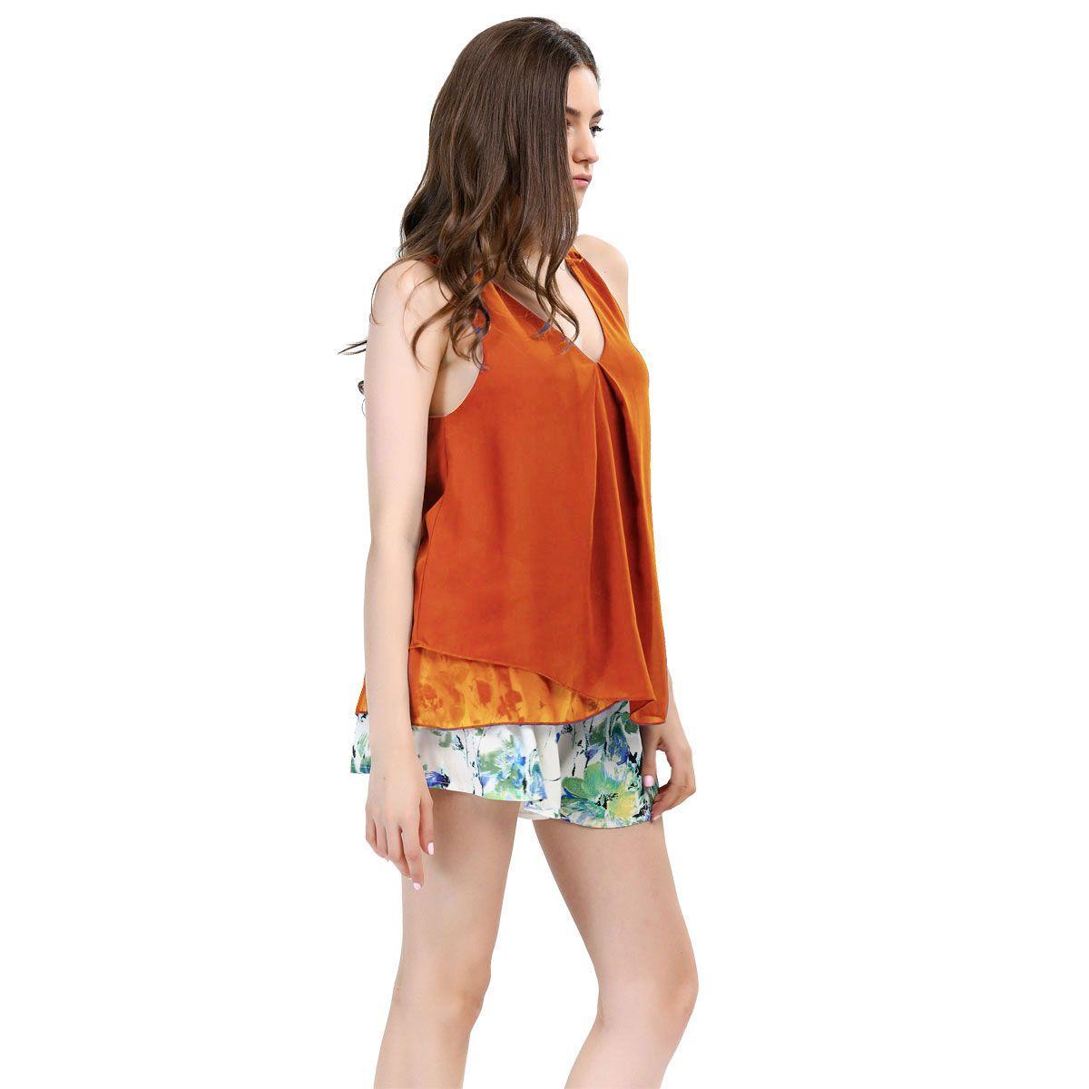 T-Shirt For Women 2016 summer High quality Women Blouses v neck Tops shirts For Women Clothing sleeveless pullover Chiffon Blouse