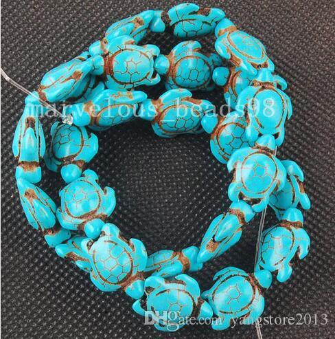 شحن مجاني جديد حار 7 المدرجات خمر البيضاوي الأزرق howlite الفيروز منحوت السلحفاة الخرز 14 ملليمتر x 14 ملليمتر G6322 صنع المجوهرات diy