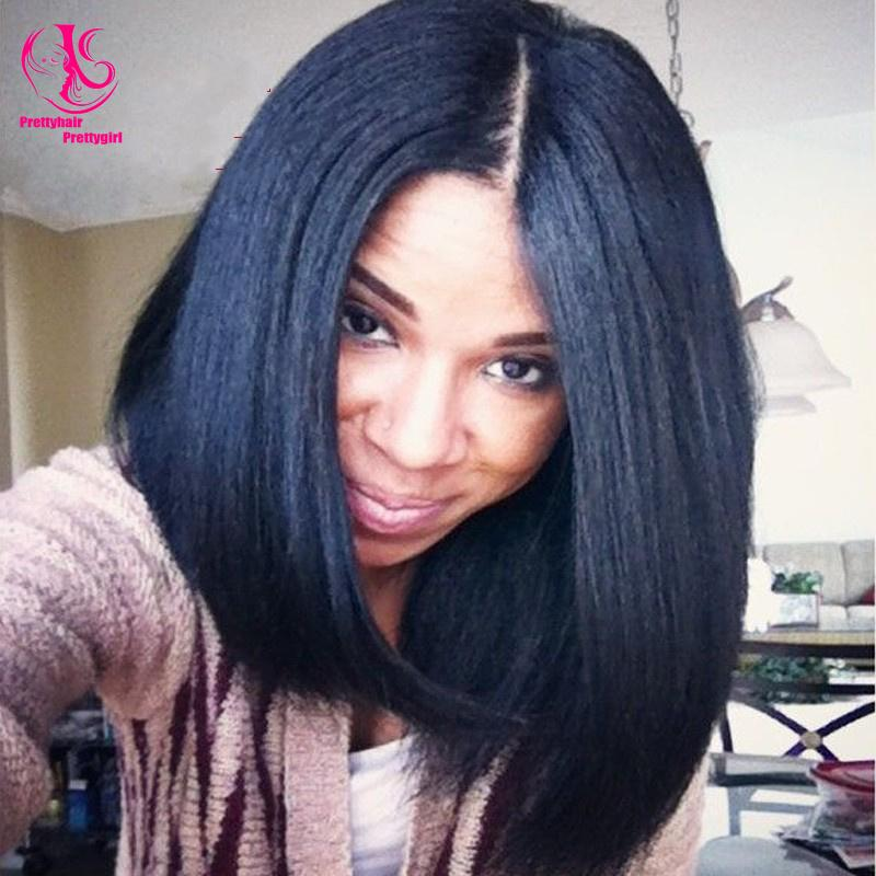 Hot ! Middle Part Short Bob Wig Black Wig Synthetic Lace Front Wigs Heat Resistant Glueless Wigs ...