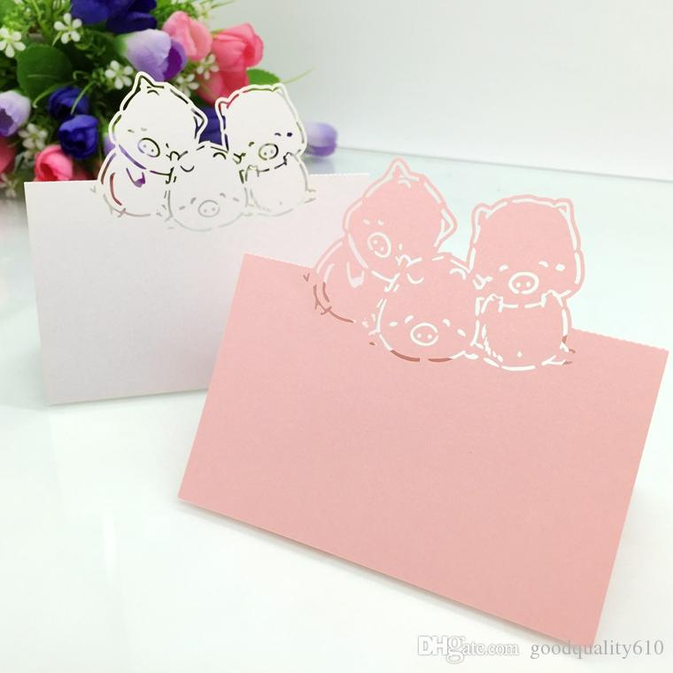 Laser Cut Hollow Pigs Paper Table Card Number Name Place Card For Baby Shower Party Wedding Decorate Customization