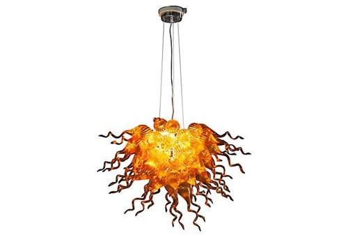 Gold Colored Murano Glass Pendant Lamps for Bedroom Decoration Cheap and Small Modern Art Mouth Blown Glass Chandelier with High Quality