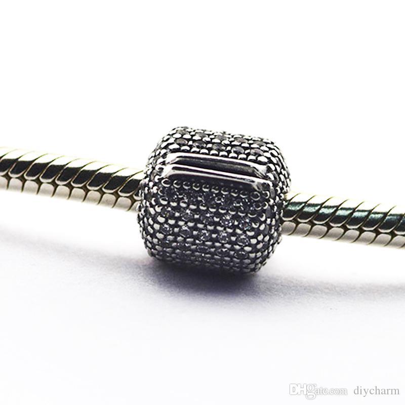 Branelli allentati clip 100% autentico 925 perle in argento sterling con clip barile cz Adatto i braccialetti Pandora gioielli fai da te 2016 nuova festa della mamma