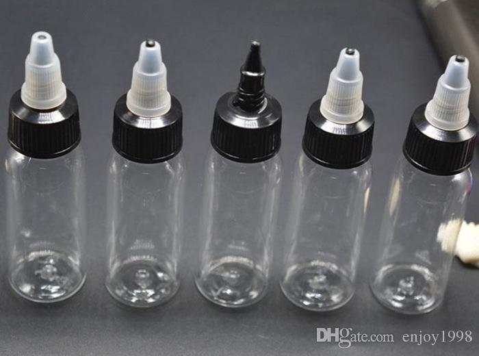 E CIG 액체 주스 무료 배송 DHL의 경우 캡 오프 블랙 트위스트와 최신 플라스틱 스포이드 병 60ml의 PET 펜 모양 부리 병