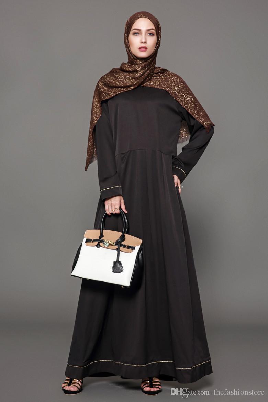 f107df100b 2019 New Arrival Plus Size Muslim Women Long Sleeved Black Abaya Dress  Islamic Kaftan Dress S 4XL Robes From Thefashionstore