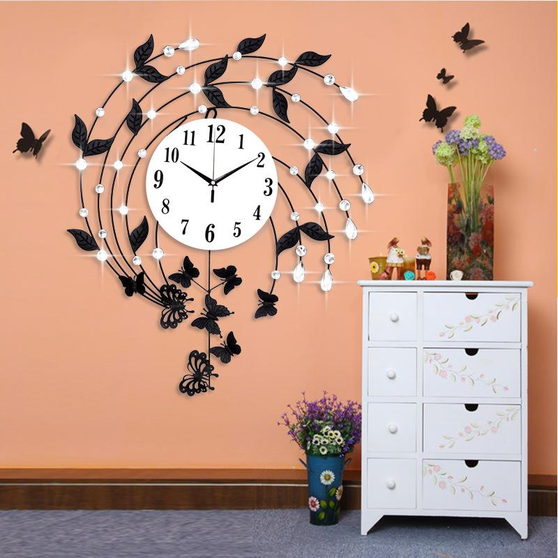 Q 10 Inches Dial 68x72cm Flower Wall Clock Watch Fashion Creative Modern  Decorative Wrought Iron Bell Clocks Home Decoration Bathroom Wall Clocks  Small ...