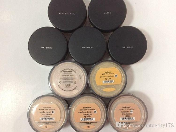 Mineral Foundation Original Foundation loses Pulver 8g C10 Messe / 8g N10 ziemlich Licht / 8g Medium C25 / 8g Medium beige N20 / 9g Mineral Schleier.