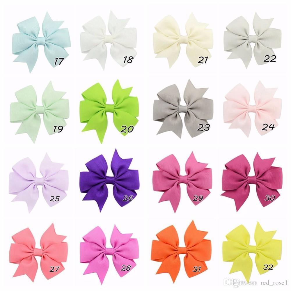 40 färger baby flicka band bågar clips hairpin girl's hairbows boutique hår clip headware barn hår tillbehör