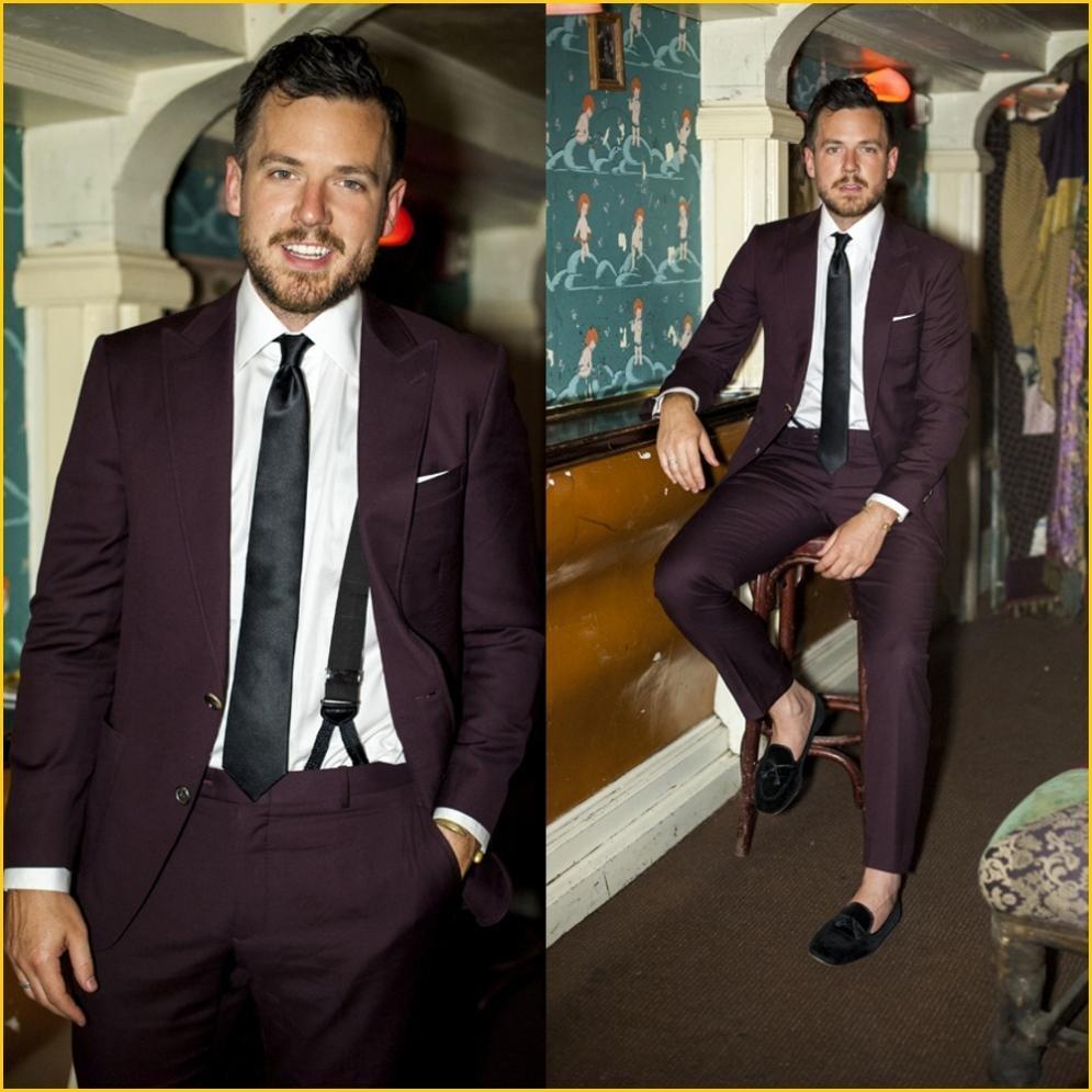 Personalized Mens Suits Slim Fit Suit Men Burgundy Tuxedos 2 ...