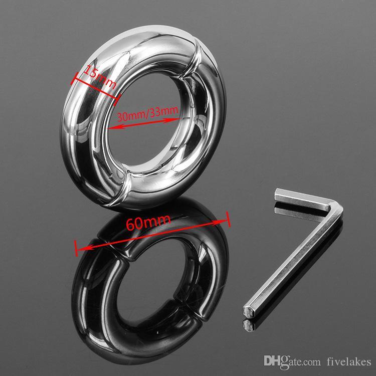 Mais novo aço inoxidável scrotum anel de carga cinto de castidade de escravo do sexo masculino anel de galo de aço penis luva scrotum anel scrotum bola maca scrotum